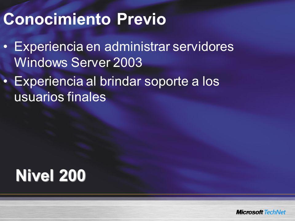Conocimiento Previo Nivel 200 Experiencia en administrar servidores Windows Server 2003 Experiencia al brindar soporte a los usuarios finales