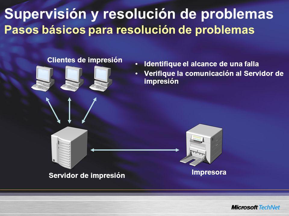 Identifique el alcance de una falla Verifique la comunicación al Servidor de impresión Clientes de impresión Servidor de impresión Impresora Supervisión y resolución de problemas Pasos básicos para resolución de problemas