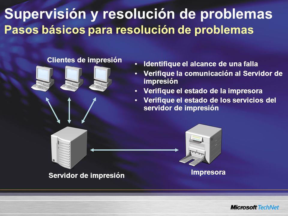 Identifique el alcance de una falla Verifique la comunicación al Servidor de impresión Verifique el estado de la impresora Verifique el estado de los servicios del servidor de impresión Clientes de impresión Servidor de impresión Impresora Supervisión y resolución de problemas Pasos básicos para resolución de problemas
