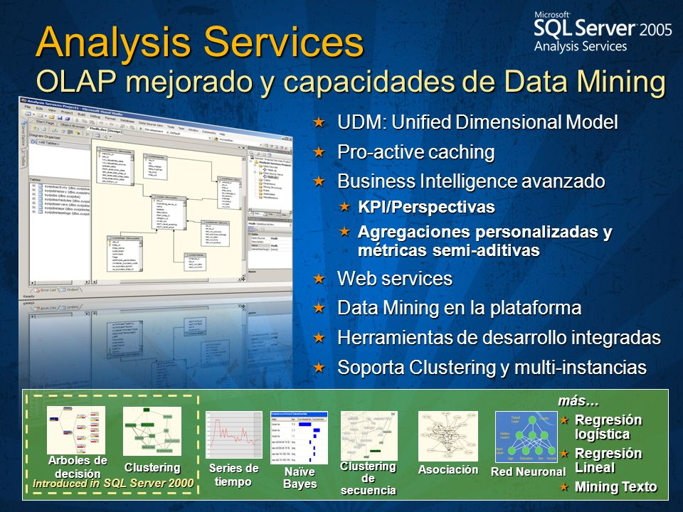 UDM: Unified Dimensional Model UDM: Unified Dimensional Model Pro-active caching Pro-active caching Business Intelligence avanzado Business Intelligen