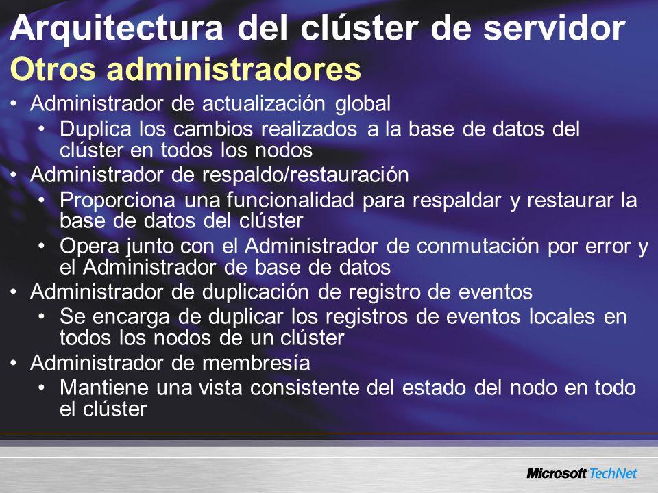Arquitectura del clúster de servidor Otros administradores Administrador de actualización global Duplica los cambios realizados a la base de datos del clúster en todos los nodos Administrador de respaldo/restauración Proporciona una funcionalidad para respaldar y restaurar la base de datos del clúster Opera junto con el Administrador de conmutación por error y el Administrador de base de datos Administrador de duplicación de registro de eventos Se encarga de duplicar los registros de eventos locales en todos los nodos de un clúster Administrador de membresía Mantiene una vista consistente del estado del nodo en todo el clúster