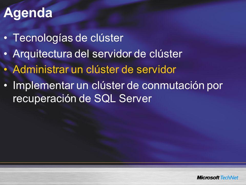 Agenda Tecnologías de clúster Arquitectura del servidor de clúster Administrar un clúster de servidor Implementar un clúster de conmutación por recuperación de SQL Server