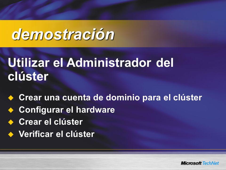 Utilizar el Administrador del clúster Crear una cuenta de dominio para el clúster Configurar el hardware Crear el clúster Verificar el clúster demostración demostración