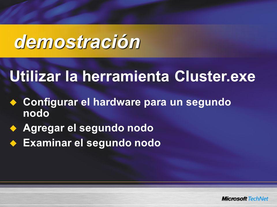 Utilizar la herramienta Cluster.exe Configurar el hardware para un segundo nodo Agregar el segundo nodo Examinar el segundo nodo demostración demostración