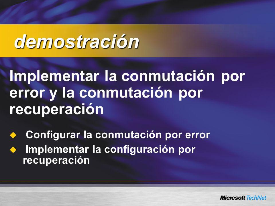 Implementar la conmutación por error y la conmutación por recuperación Configurar la conmutación por error Implementar la configuración por recuperación demostración demostración