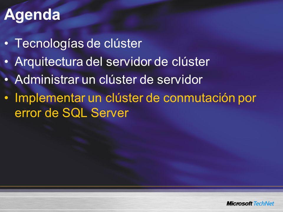 Agenda Tecnologías de clúster Arquitectura del servidor de clúster Administrar un clúster de servidor Implementar un clúster de conmutación por error de SQL Server