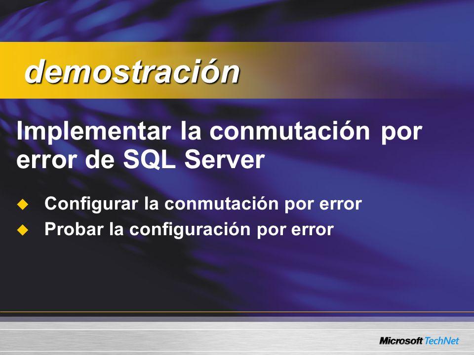 Implementar la conmutación por error de SQL Server Configurar la conmutación por error Probar la configuración por error demostración demostración