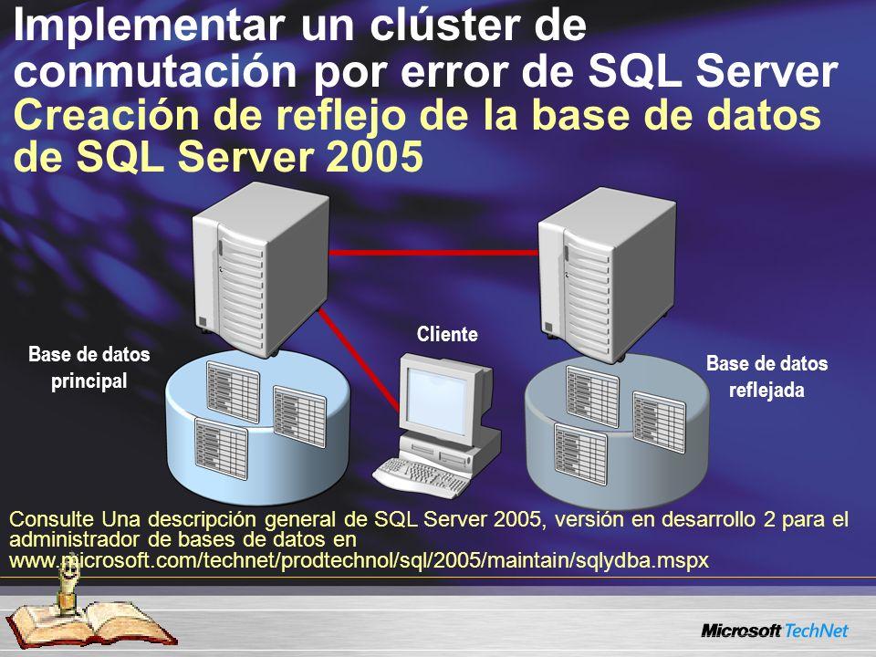 Implementar un clúster de conmutación por error de SQL Server Creación de reflejo de la base de datos de SQL Server 2005 Base de datos principal Base de datos reflejada Cliente Consulte Una descripción general de SQL Server 2005, versión en desarrollo 2 para el administrador de bases de datos en www.microsoft.com/technet/prodtechnol/sql/2005/maintain/sqlydba.mspx