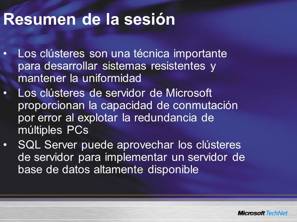 Resumen de la sesión Los clústeres son una técnica importante para desarrollar sistemas resistentes y mantener la uniformidad Los clústeres de servidor de Microsoft proporcionan la capacidad de conmutación por error al explotar la redundancia de múltiples PCs SQL Server puede aprovechar los clústeres de servidor para implementar un servidor de base de datos altamente disponible