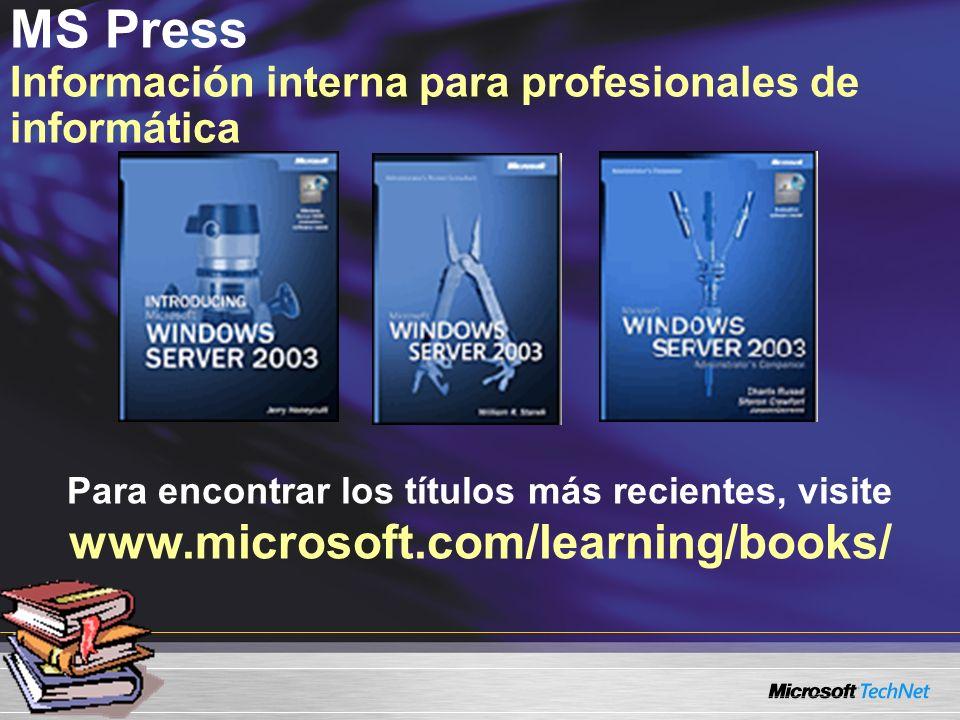 MS Press Información interna para profesionales de informática Para encontrar los títulos más recientes, visite www.microsoft.com/learning/books/