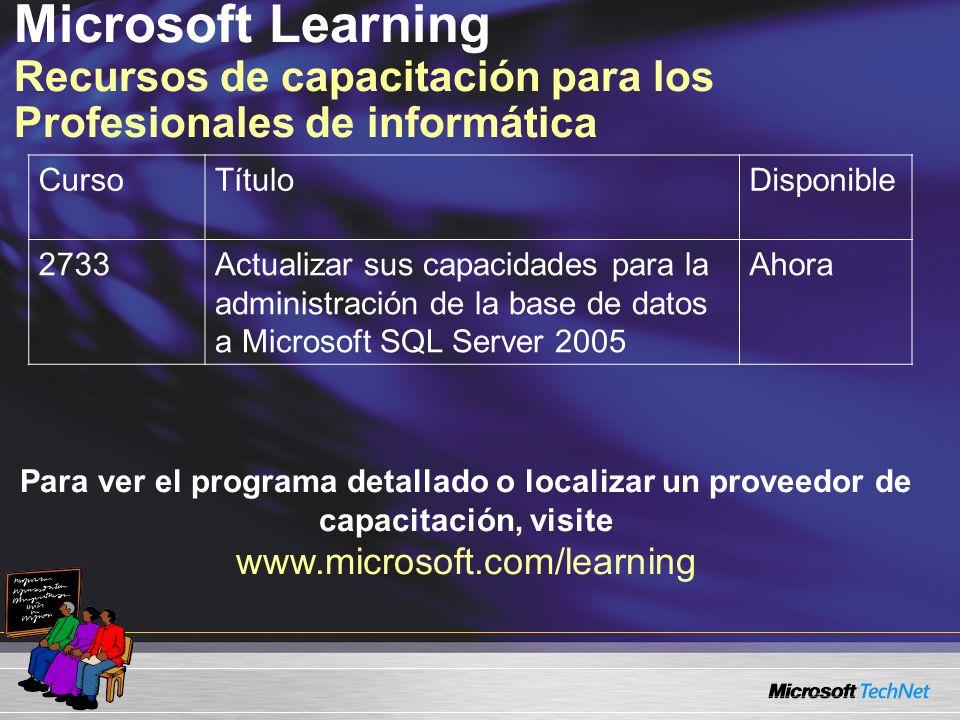 Microsoft Learning Recursos de capacitación para los Profesionales de informática CursoTítuloDisponible 2733Actualizar sus capacidades para la administración de la base de datos a Microsoft SQL Server 2005 Ahora Para ver el programa detallado o localizar un proveedor de capacitación, visite www.microsoft.com/learning