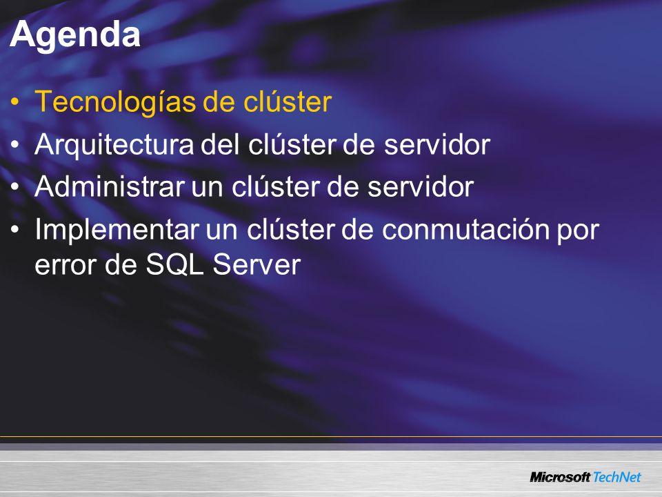 Agenda Tecnologías de clúster Arquitectura del clúster de servidor Administrar un clúster de servidor Implementar un clúster de conmutación por error de SQL Server