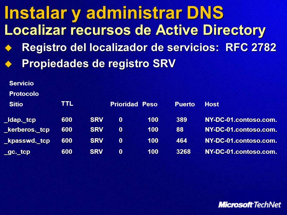 Instalar y administrar DNS Localizar recursos de Active Directory Registro del localizador de servicios: RFC 2782 Registro del localizador de servicio