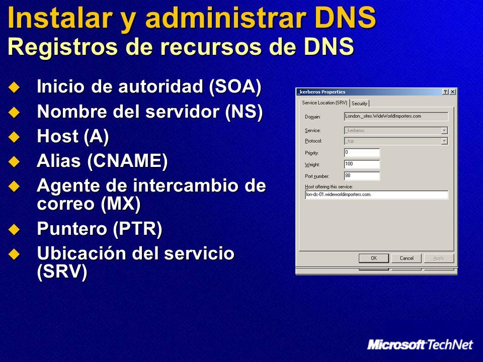 Instalar y administrar DNS Registros de recursos de DNS Inicio de autoridad (SOA) Inicio de autoridad (SOA) Nombre del servidor (NS) Nombre del servid