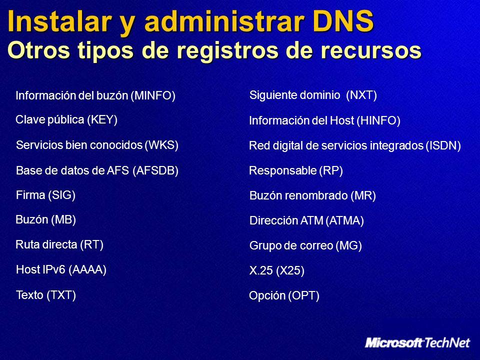 Instalar y administrar DNS Otros tipos de registros de recursos Base de datos de AFS (AFSDB) Host IPv6 (AAAA) Información del buzón (MINFO) Buzón (MB)