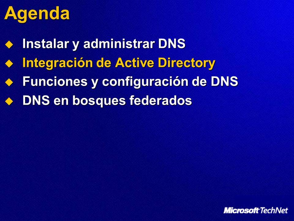 Agenda Instalar y administrar DNS Instalar y administrar DNS Integración de Active Directory Integración de Active Directory Funciones y configuración