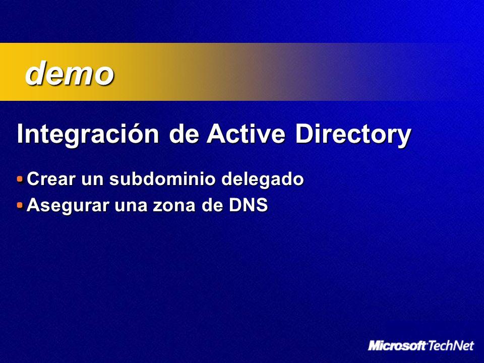 Integración de Active Directory Crear un subdominio delegado Asegurar una zona de DNS demo demo