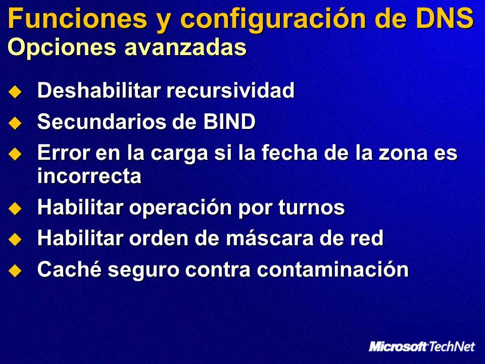 Funciones y configuración de DNS Opciones avanzadas Deshabilitar recursividad Deshabilitar recursividad Secundarios de BIND Secundarios de BIND Error