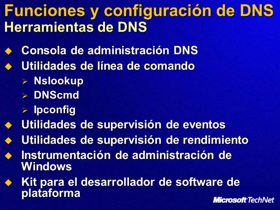 Funciones y configuración de DNS Herramientas de DNS Consola de administración DNS Consola de administración DNS Utilidades de línea de comando Utilid