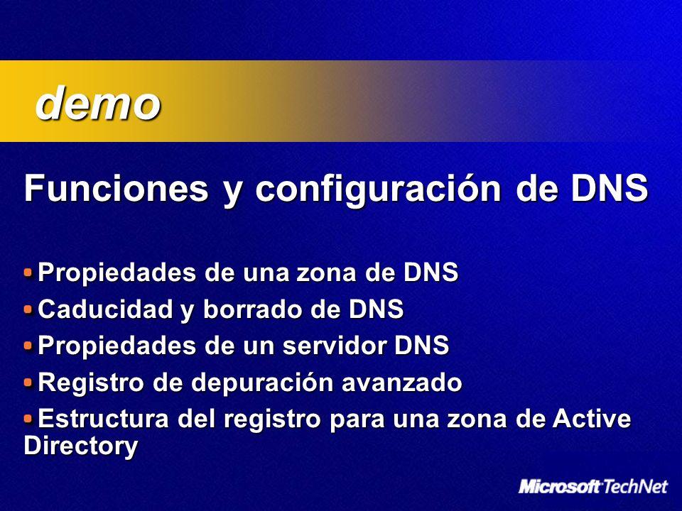 Funciones y configuración de DNS Funciones y configuración de DNS Propiedades de una zona de DNS Caducidad y borrado de DNS Propiedades de un servidor