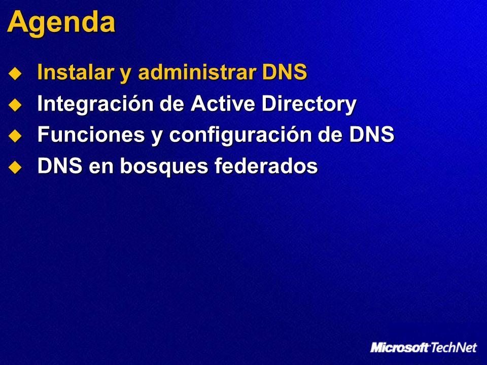 Instalar y administrar DNS Consola de administración de DNS Complemento de Microsoft Management Console Complemento de Microsoft Management Console Organiza la jerarquía de DNS Organiza la jerarquía de DNS Administra múltiples servidores DNS Administra múltiples servidores DNS