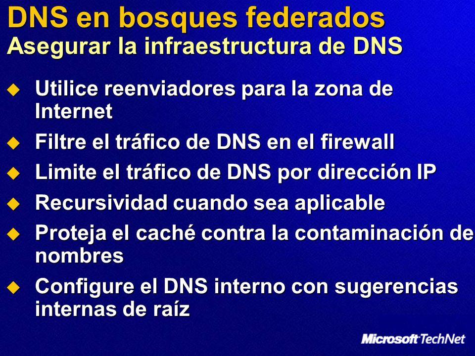DNS en bosques federados Asegurar la infraestructura de DNS Utilice reenviadores para la zona de Internet Utilice reenviadores para la zona de Interne