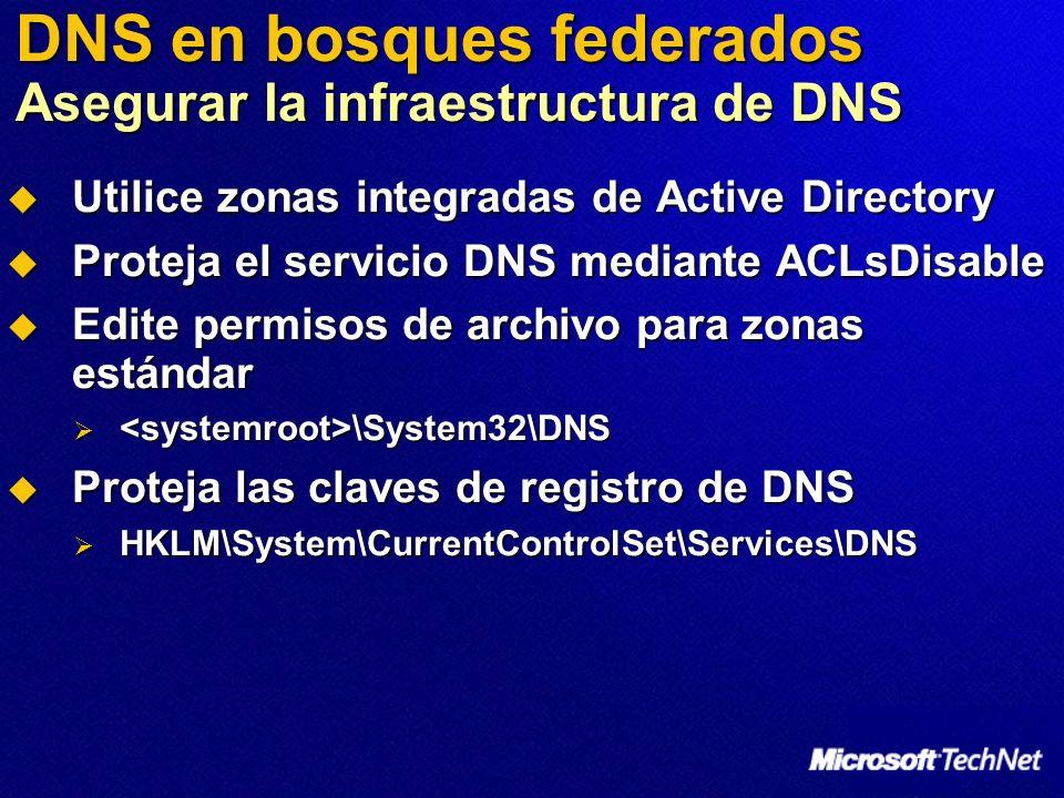 DNS en bosques federados Asegurar la infraestructura de DNS Utilice zonas integradas de Active Directory Utilice zonas integradas de Active Directory