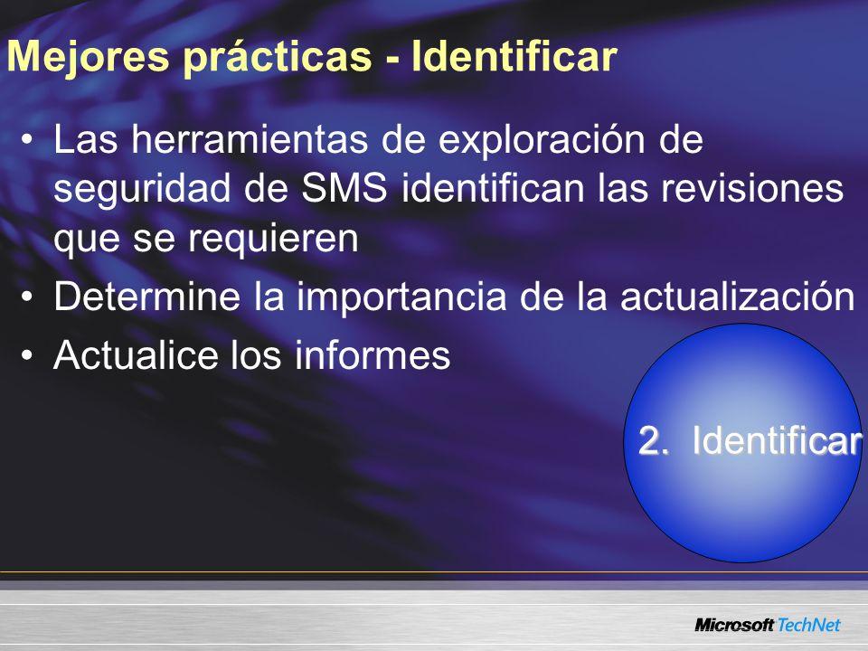 Mejores prácticas - Identificar Las herramientas de exploración de seguridad de SMS identifican las revisiones que se requieren Determine la importancia de la actualización Actualice los informes 2.