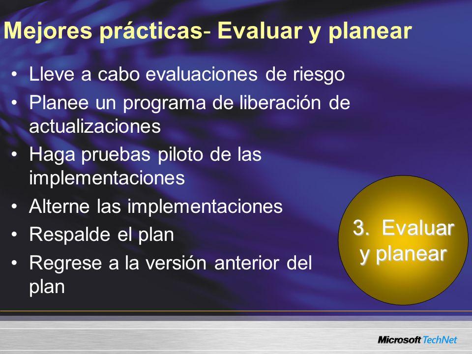 Mejores prácticas- Evaluar y planear Lleve a cabo evaluaciones de riesgo Planee un programa de liberación de actualizaciones Haga pruebas piloto de las implementaciones Alterne las implementaciones Respalde el plan Regrese a la versión anterior del plan 3.