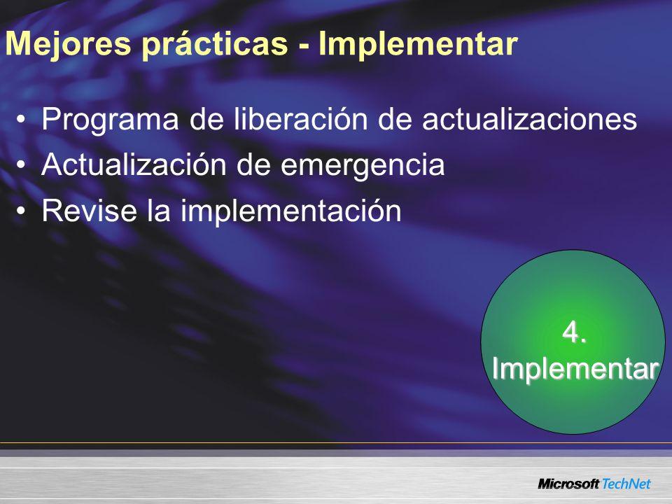 Mejores prácticas - Implementar Programa de liberación de actualizaciones Actualización de emergencia Revise la implementación 4.