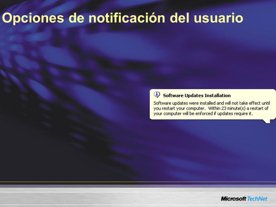 Opciones de notificación del usuario