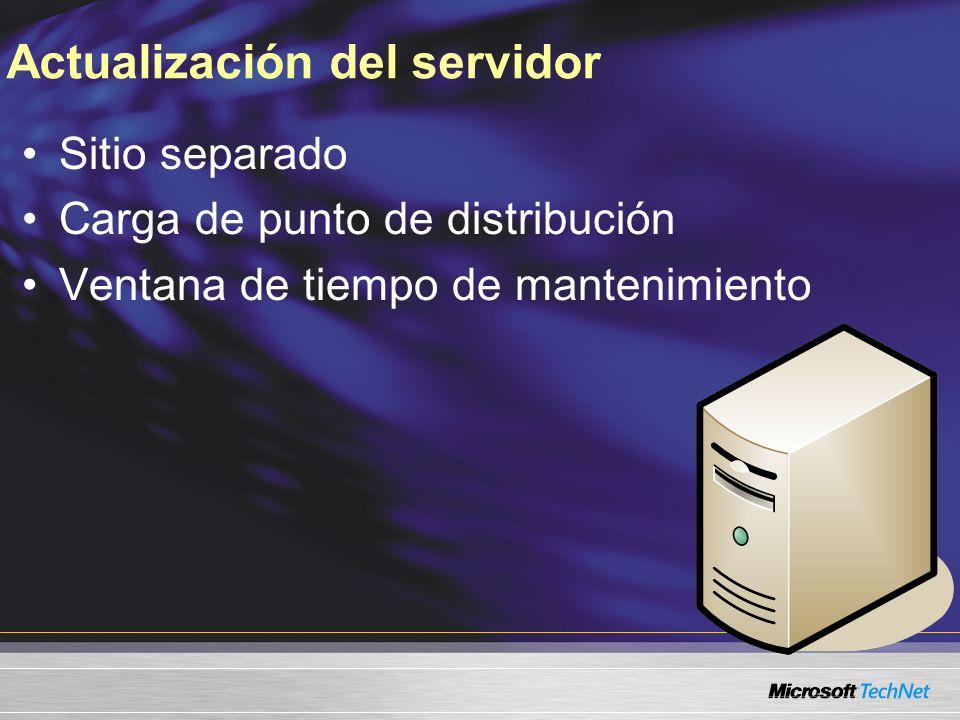 Actualización del servidor Sitio separado Carga de punto de distribución Ventana de tiempo de mantenimiento