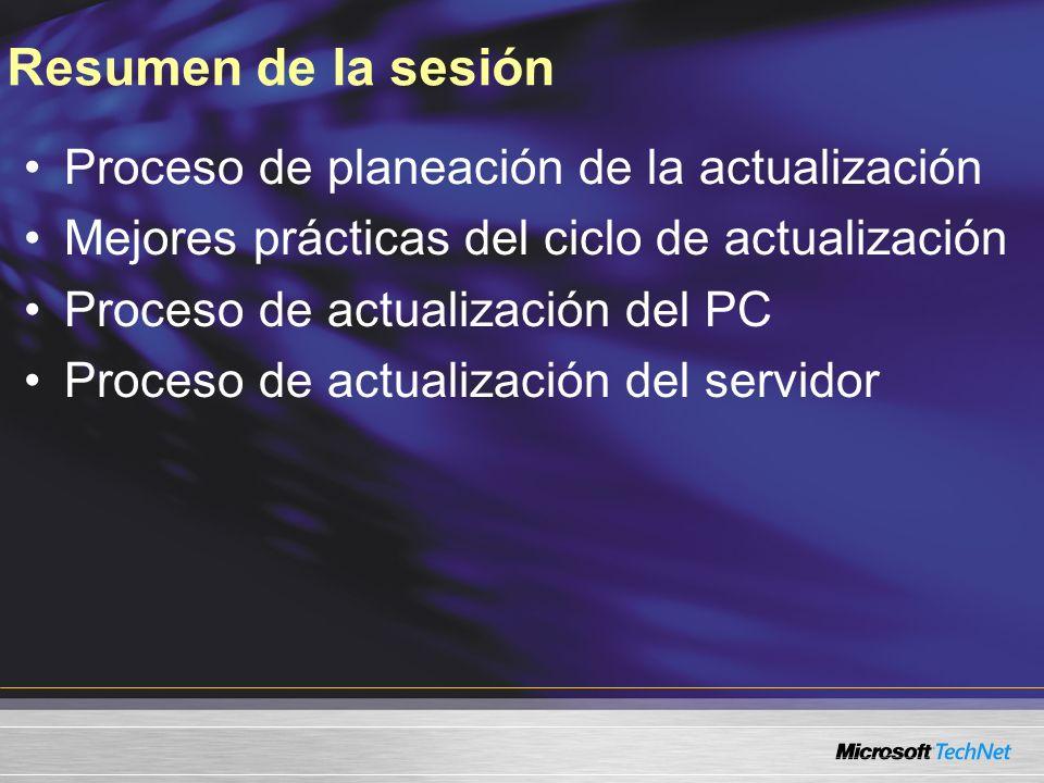 Resumen de la sesión Proceso de planeación de la actualización Mejores prácticas del ciclo de actualización Proceso de actualización del PC Proceso de actualización del servidor
