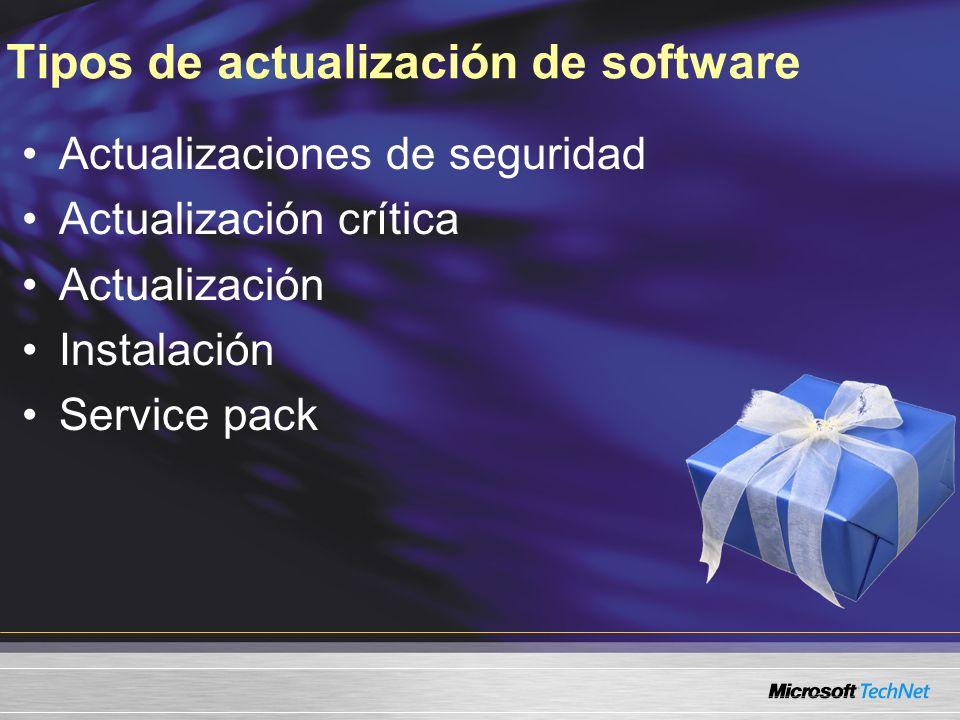 Tipos de actualización de software Actualizaciones de seguridad Actualización crítica Actualización Instalación Service pack