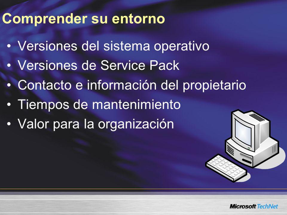 Comprender su entorno Versiones del sistema operativo Versiones de Service Pack Contacto e información del propietario Tiempos de mantenimiento Valor para la organización