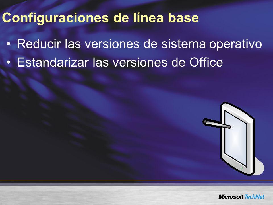 Configuraciones de línea base Reducir las versiones de sistema operativo Estandarizar las versiones de Office