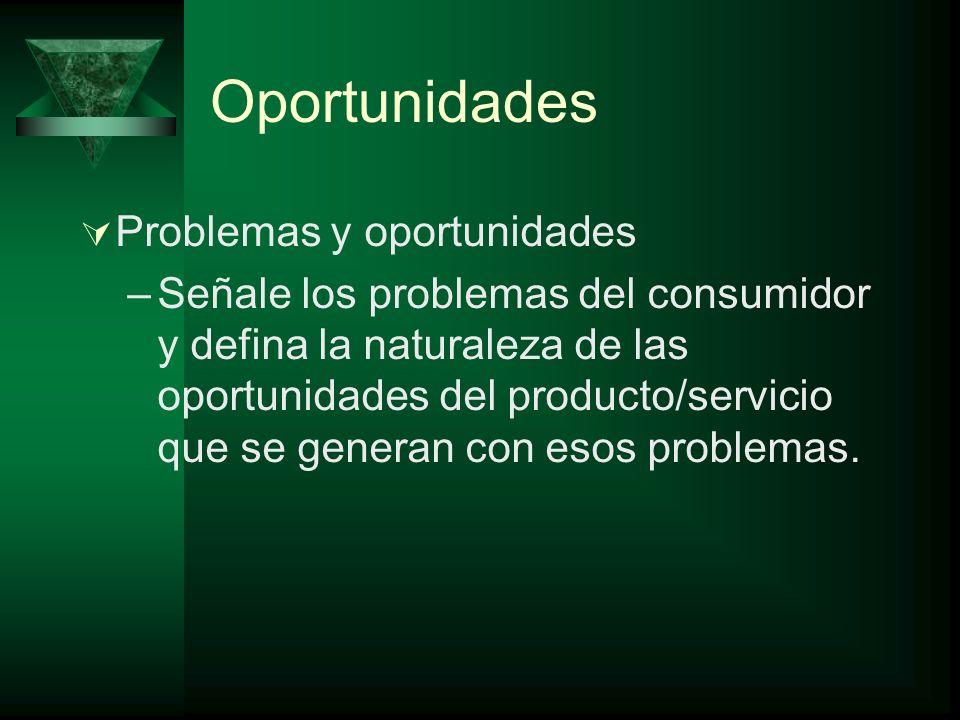 Oportunidades Problemas y oportunidades –Señale los problemas del consumidor y defina la naturaleza de las oportunidades del producto/servicio que se