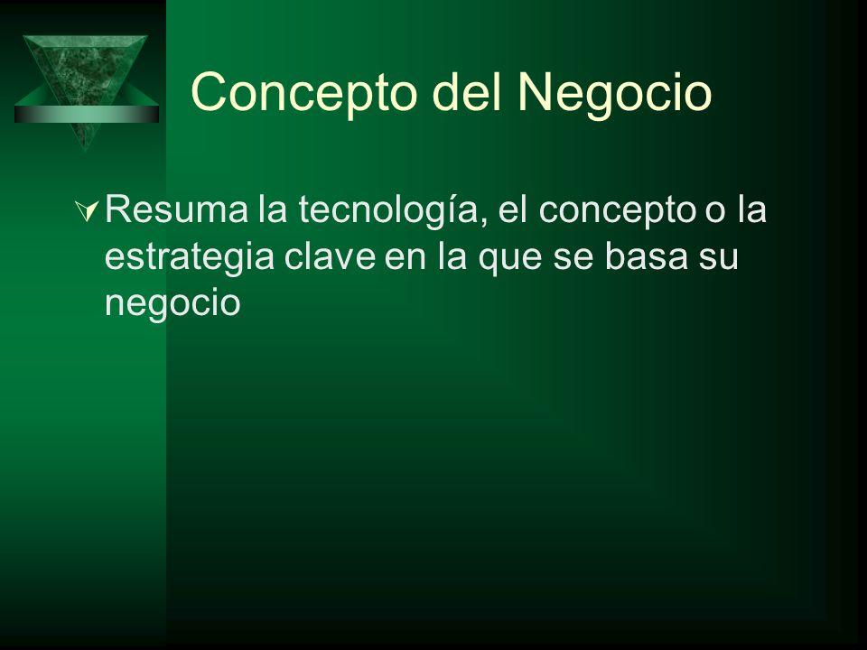 Concepto del Negocio Resuma la tecnología, el concepto o la estrategia clave en la que se basa su negocio