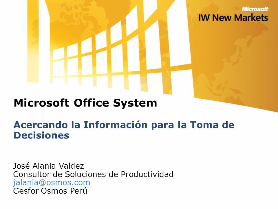 Microsoft Office System Acercando la Información para la Toma de Decisiones José Alania Valdez Consultor de Soluciones de Productividad jalania@osmos.com Gesfor Osmos Perú