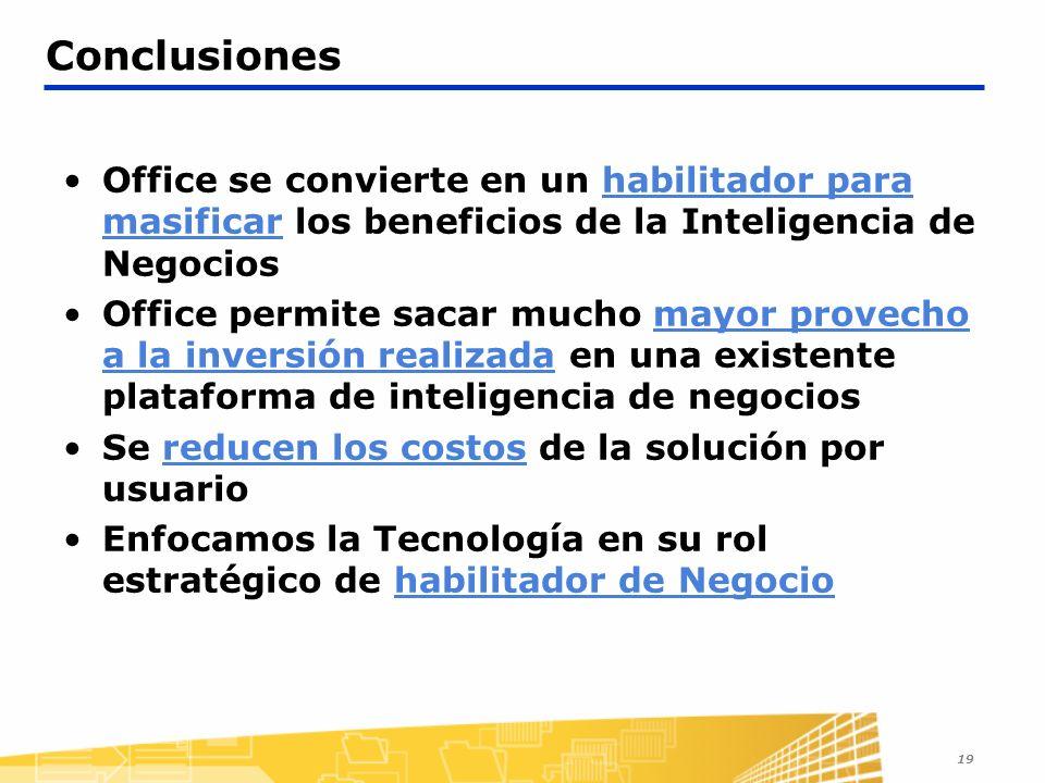 19 Conclusiones Office se convierte en un habilitador para masificar los beneficios de la Inteligencia de Negocios Office permite sacar mucho mayor provecho a la inversión realizada en una existente plataforma de inteligencia de negocios Se reducen los costos de la solución por usuario Enfocamos la Tecnología en su rol estratégico de habilitador de Negocio