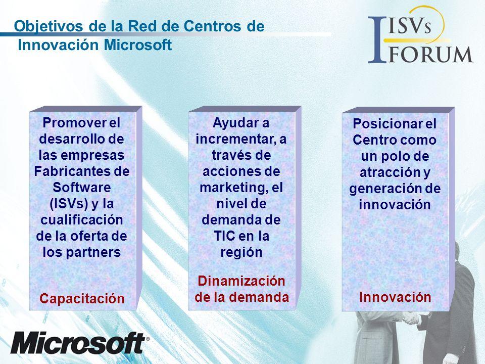 Promover el desarrollo de las empresas Fabricantes de Software (ISVs) y la cualificación de la oferta de los partners Capacitación Ayudar a incrementar, a través de acciones de marketing, el nivel de demanda de TIC en la región Posicionar el Centro como un polo de atracción y generación de innovación Dinamización de la demanda Innovación Objetivos de la Red de Centros de Innovación Microsoft
