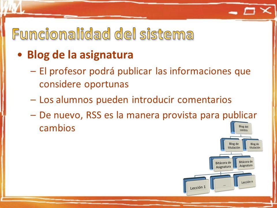 Blog de la asignatura –El profesor podrá publicar las informaciones que considere oportunas –Los alumnos pueden introducir comentarios –De nuevo, RSS