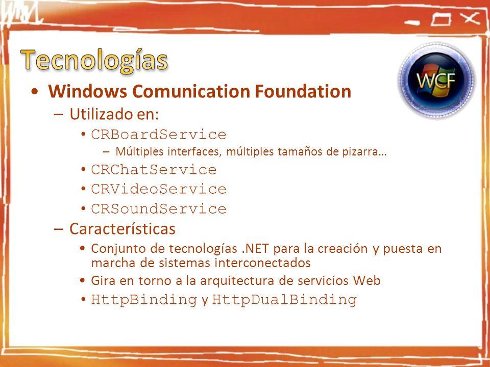 Windows Comunication Foundation –Utilizado en: CRBoardService –Múltiples interfaces, múltiples tamaños de pizarra… CRChatService CRVideoService CRSoun