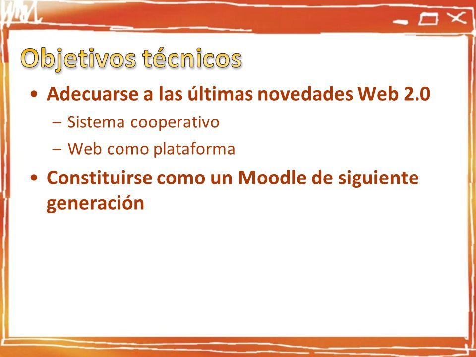 Adecuarse a las últimas novedades Web 2.0 –Sistema cooperativo –Web como plataforma Constituirse como un Moodle de siguiente generación