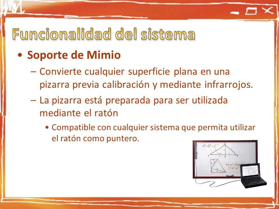 Soporte de Mimio –Convierte cualquier superficie plana en una pizarra previa calibración y mediante infrarrojos. –La pizarra está preparada para ser u