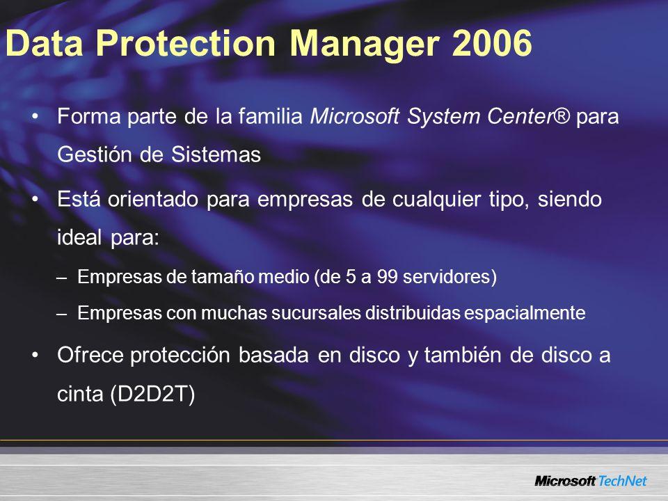 Data Protection Manager 2006 Forma parte de la familia Microsoft System Center® para Gestión de Sistemas Está orientado para empresas de cualquier tip