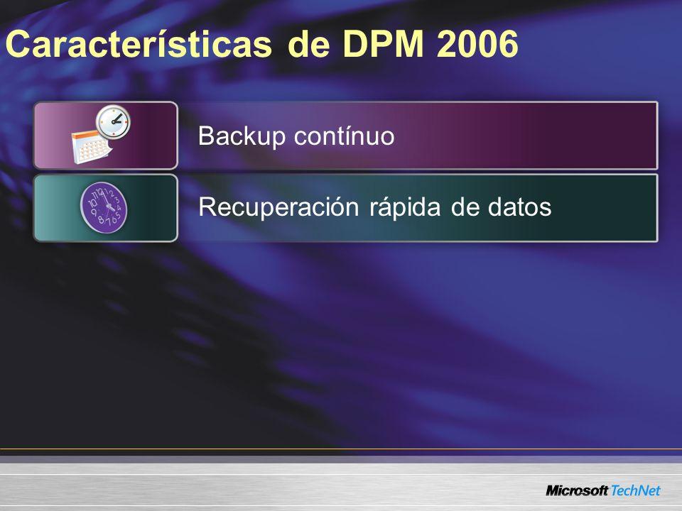 Características de DPM 2006 Backup contínuo Recuperación rápida de datos