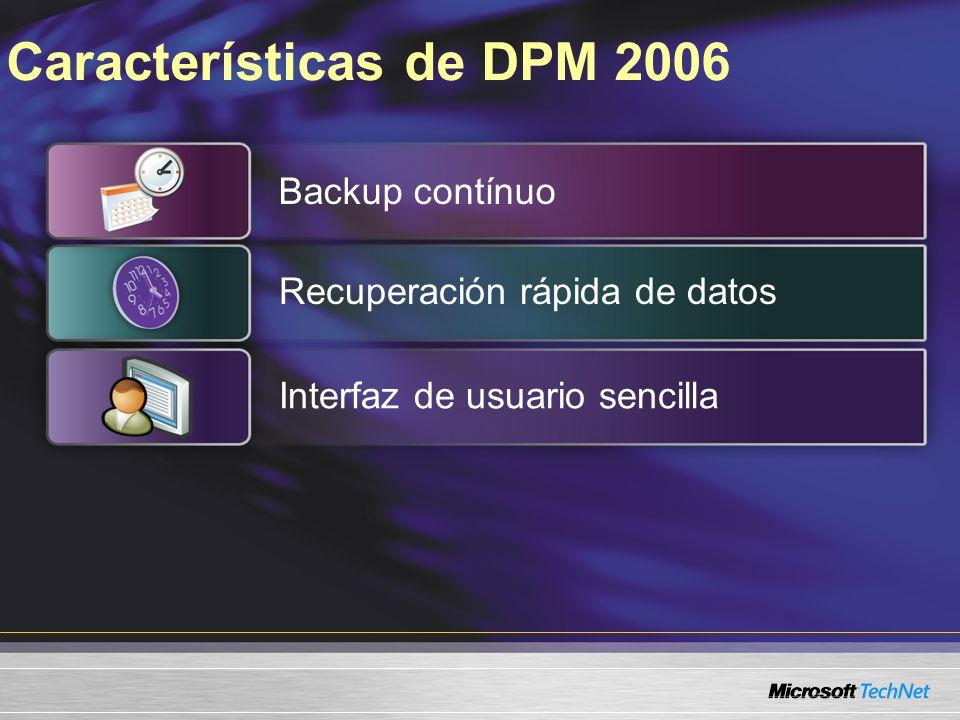 Características de DPM 2006 Backup contínuo Recuperación rápida de datos Interfaz de usuario sencilla
