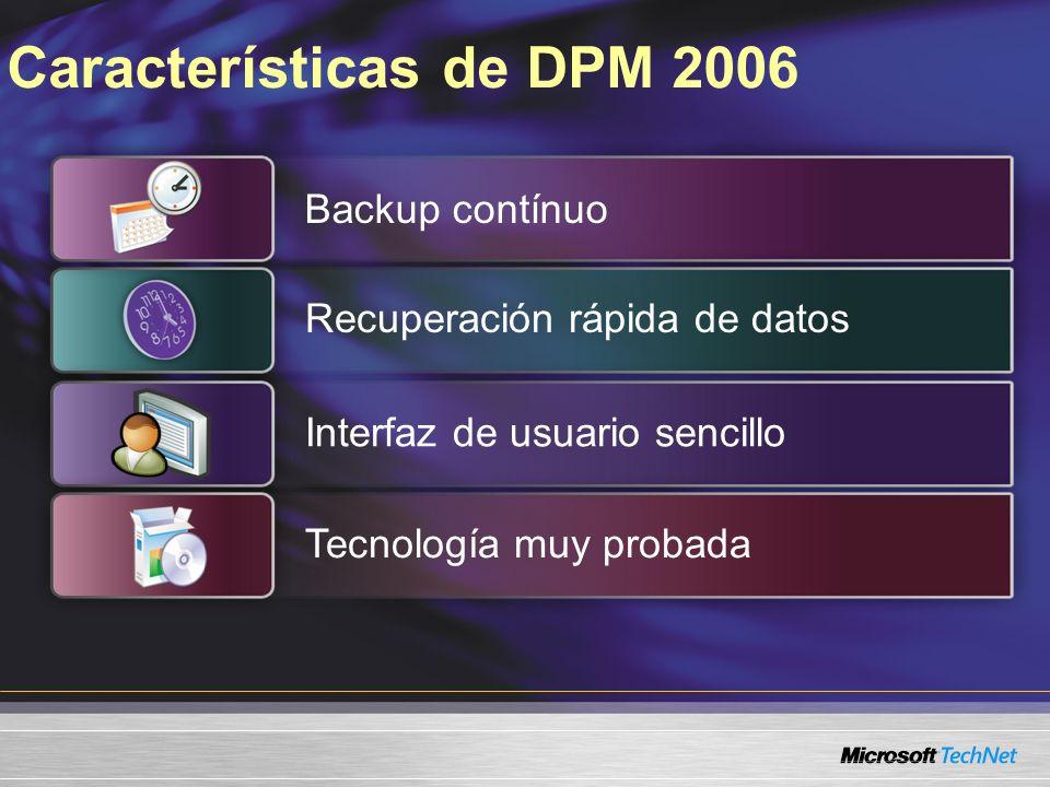 Características de DPM 2006 Backup contínuo Recuperación rápida de datos Interfaz de usuario sencilloTecnología muy probada