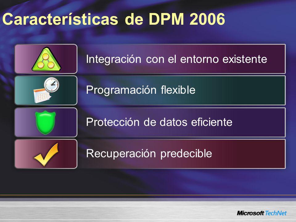 Características de DPM 2006 Integración con el entorno existente Programación flexible Protección de datos eficienteRecuperación predecible